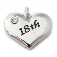 18th Charm - Birthday Heart Charm
