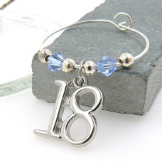 18th Birthday Wine Glass Charms with Swarovski® Crystal