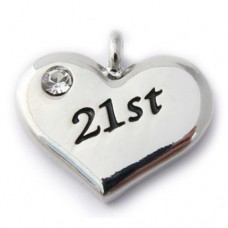 21st Charm - Birthday Heart Charm