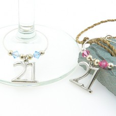 21st Birthday Wine Glass Charms with Swarovski® Crystal