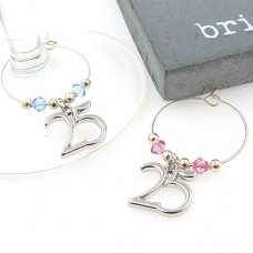 25th Anniversary Wine Glass Charms with Swarovski® Crystal