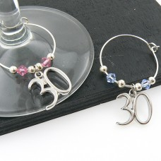 30th Wine Glass Charms with Swarovski® Crystal