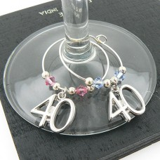 40th Wine Glass Charms with Swarovski® Crystal