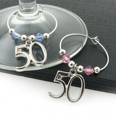 50th Wine Glass Charms with Swarovski® Crystal