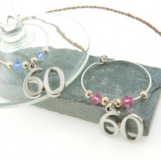60th Wine Glass Charms with Swarovski® Crystal