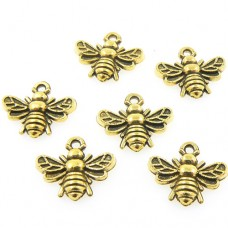 Antique Gold Bumble Bee Charms - Pack of 10