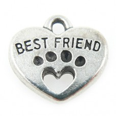 Best Friend Paw and Heart Charm