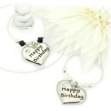 Happy Birthday Wine Charms - Set of 2