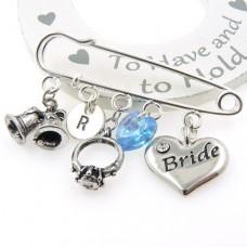 Personalised Bridal Kilt Pin with Swarovski ® Crystal Heart