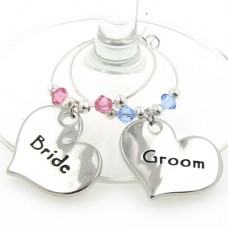 Bride and Groom Wine Glass Charms with Swarovski ® Crystals