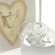 Bride and Groom Wedding Wine Glass Charms