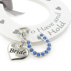Bride Heart and Horseshoe Wedding Garter Charm