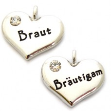 German Bride and Groom Heart Charms