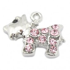 Dog Charm - Westie Scottie - Pink