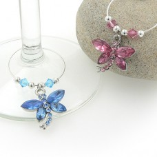 Crystal Dragonfly Wine Charms