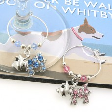 Crystal Scottie Westie Dog Wine Glass Charms