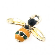 Enamel Bumble Bee Charm with Crystals