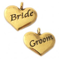 Wedding Heart Charms - Bride and Groom