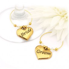 Gold Bride and Groom Wine Glass Charms