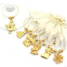 Gold Christmas Wine Glass Charms