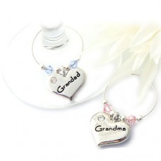 Grandma and Grandad Wine Glass Charms