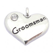 Wedding Heart Charm -  Groomsman