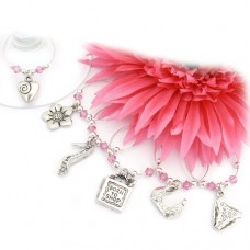Pink Girlie Wine Glass Charms