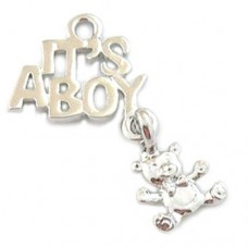 It's a Boy Charm with Teddy Bear