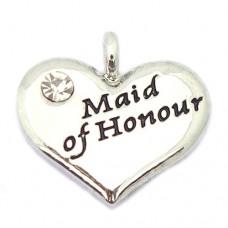 Wedding Heart Charm - Maid of Honour