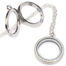Crystal Memory Locket Necklace - Living Floating Charm