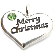 Merry Christmas Heart Charm - Green Crystal