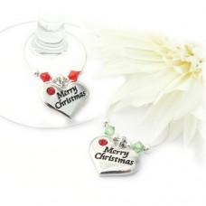 Merry Christmas Wine Charms - Set of 2