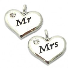 Wedding Heart Charms - Mr and Mrs