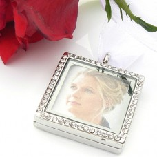 Square Crystal Picture Frame Bouquet Charm
