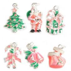Pink Christmas Enamel Charms