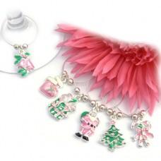 Girlie Pink Christmas Wine Glass Charms