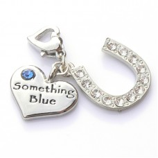 Something Blue Heart and Horseshoe Garter Charm