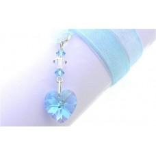Something Blue Crystal Heart Wedding Bouquet Charm