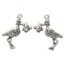 Stork and Baby Charm