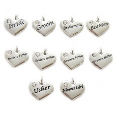 Wedding Heart Charms - Set of 10