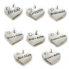 Wedding Heart Charms - Set of 8