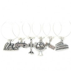 Travel the World Wine Glass Charms