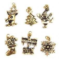 Vintage Gold Christmas Charms