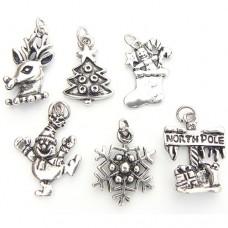 Vintage Silver Christmas Charms