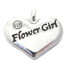 Wedding Heart Charm - Flower Girl