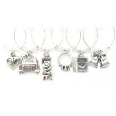 Wedding Day Wine Glass Charms - Silver