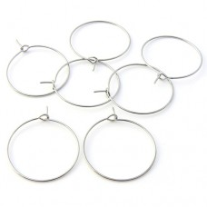 Wine Glass Charm Rings - Pre Bent - Antique Silver Tone - Pack of 6