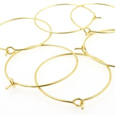 Wine Glass Charm Rings - Pre Bent - Gold Tone - Pack of 6