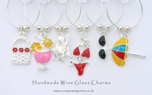 Beach Babe Wine Glass Charms - with Gift Bag and Label