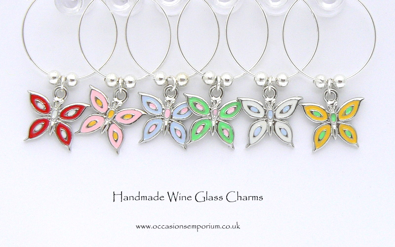 Butterfly Wine Glass Charms - with Gift Bag and Label